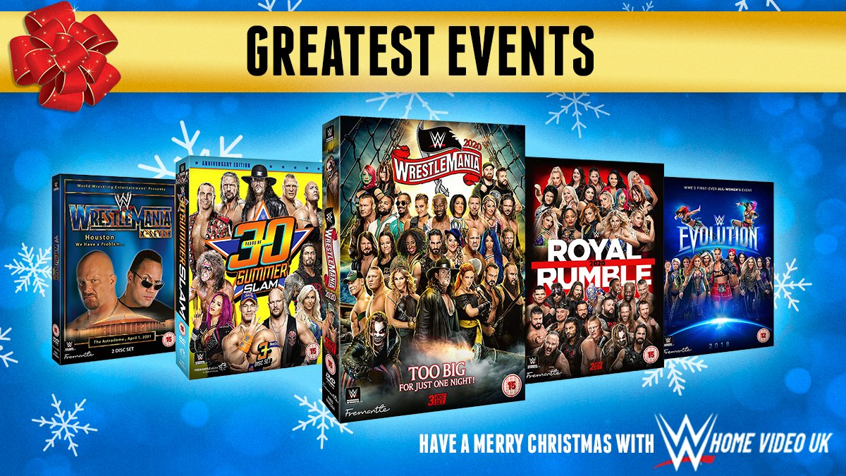 FOLLOW & RT for a chance to #WIN yet another incredible #Christmas #giveaway! Relive some of the greatest events and matches in @WWE history with this #prize bundle! #Competition ends Monday 14th December