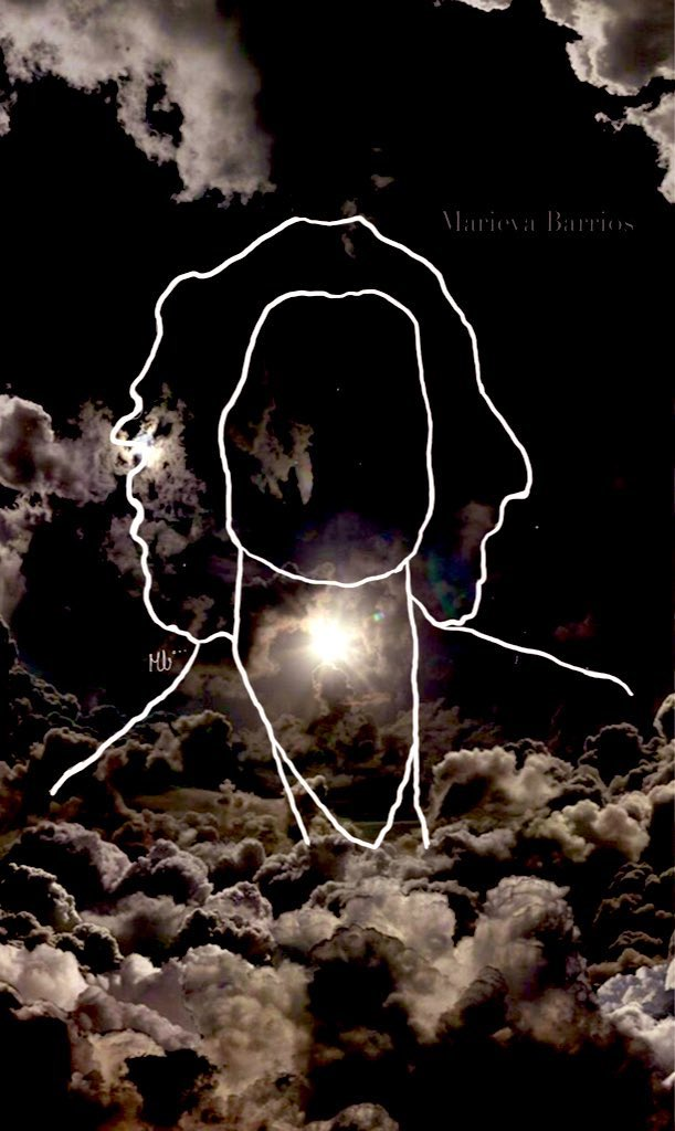 While I was listening to look up at the stars I was doing this drawing, and I felt really inspired, so I put this background of clouds and stars on it. I hope u like it #wonder @ShawnMendes @ShawnAccess