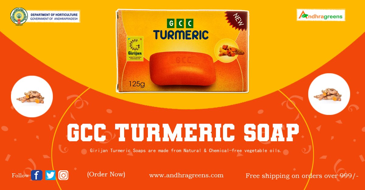 Girijan Turmeric Soaps are made from Natural & Chemical-free vegetable oils. 🛒 Shop Now -   #TurmericSoap #HerbalSoap #GCC #GCCTurmericSoap #Andhragreens