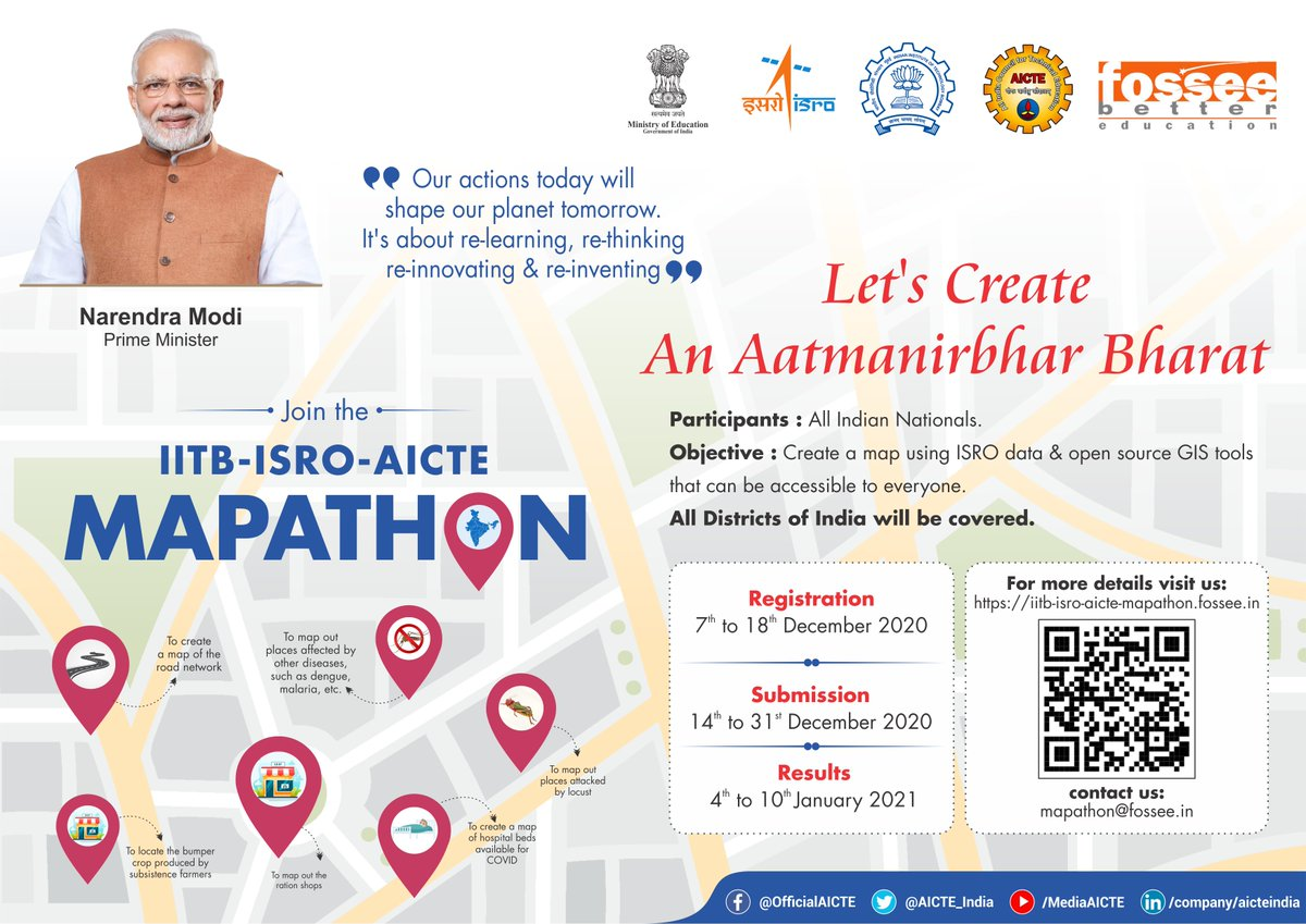 "#AICTEdge @AICTE_INDIA @isro @iitbombay   ""Our actions today will shape our planet tomorrow. It's about re-learning, re-thinking, re-innovating & re-inventing"". Hon'ble PM @narendramodi   Make #AatmaNirbharBharat by creating resource maps of India. Register & join #Mapathon today"
