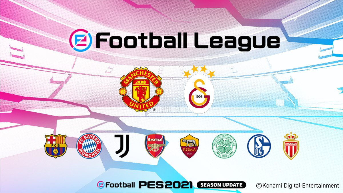 Also, please give a warm welcome to our final two participating clubs this season, @ManUtd and @GSesports!  Get ready for an action packed broadcast later this week!  ↓ Click here for details ↓   #PES2021 #eFootballPro #eFootballOpen #MUFC #Galatasaray