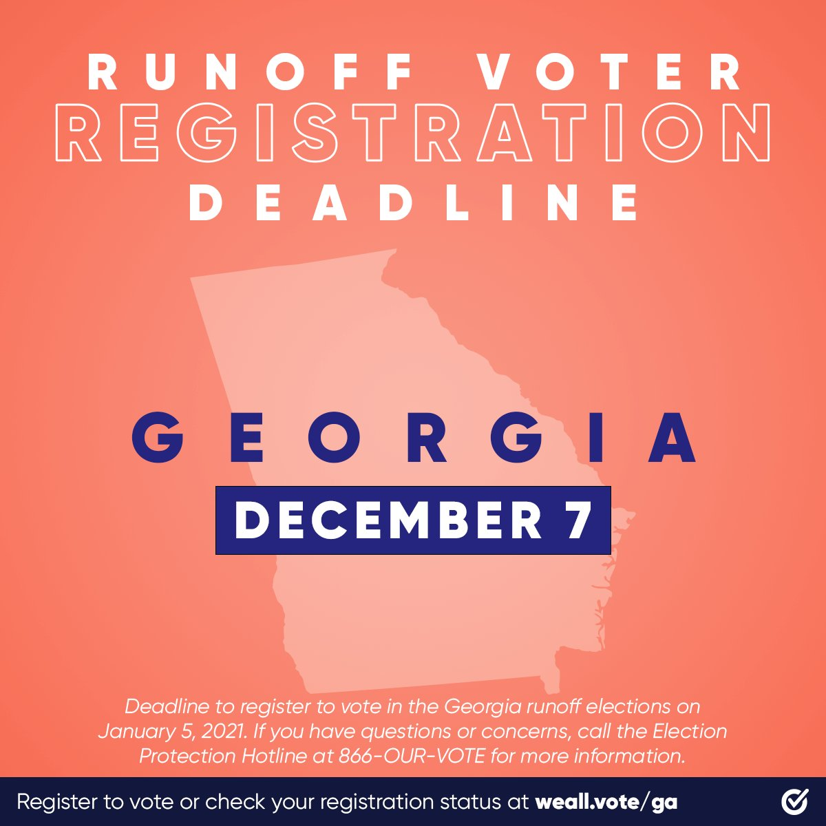 """🚨 GEORGIA 🚨   YOUR online voter registration deadline for the runoff elections is TODAY!!!!  Get #RegisteredAndReady with @WhenWeAllVote now: """