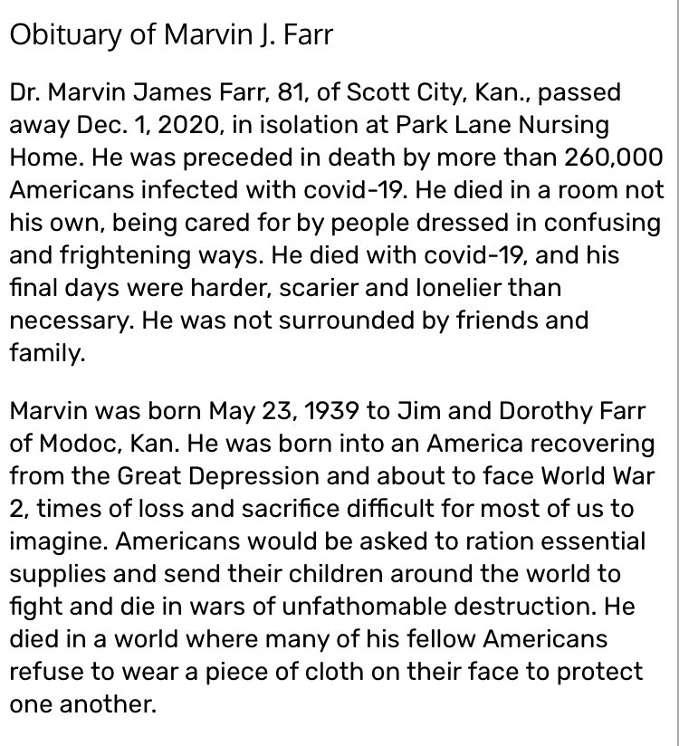 this obit a man in Kansas wrote for his father