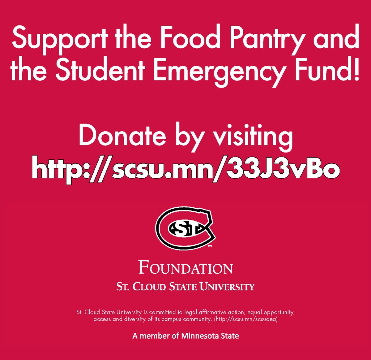 Especially during the holiday season, the @stcloudstate Foundation is asking its community of alumni and friends to help by considering a gift in support of the Huskies Food Pantry or Student Emergency Fund.  Learn more at . Thank you! #UnleashGenerosity