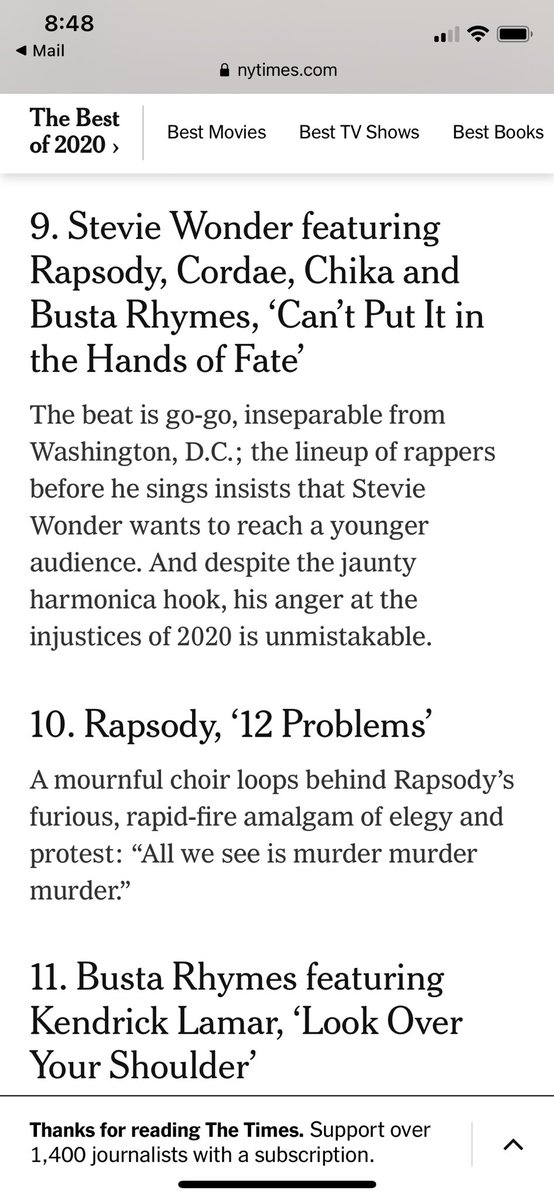 That's TWO songs on the NYT top songs of the year for Rapsody. She's been putting in a different kind of work this year!!