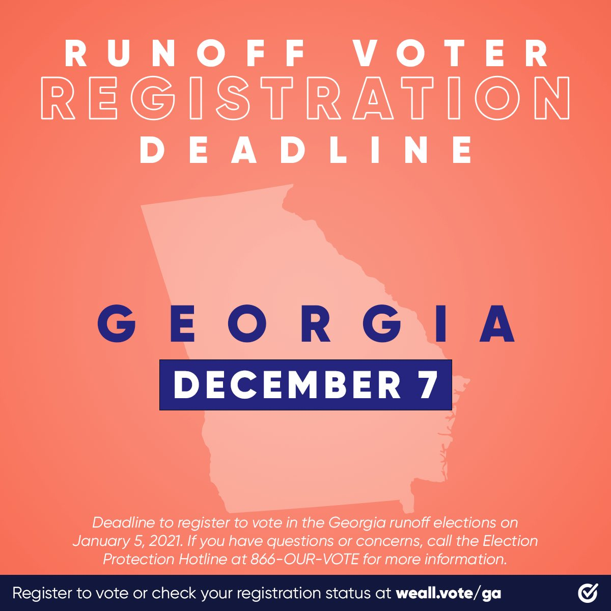 If you're not a registered Georgia voter, you have until December 7th to get #RegisteredAndReady to vote in the Runoff with @WhenWeAllVote now:   #WhenWeAllVote, #Georgia, #RegisteredAndReady