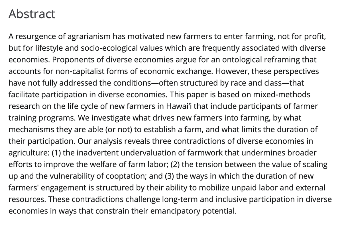 """Ag and food studies colleagues, I am delighted to share my new paper with @Krisna_Hawaii and @NicoleMilne, """"Becoming a New Farmer: Agrarianism and the Contradictions of Diverse Economies"""" in Rural Sociology @KohalaCenter @RuralSociology  https://t.co/Ouvnx2qPVU https://t.co/2z9FkkGvC8"""