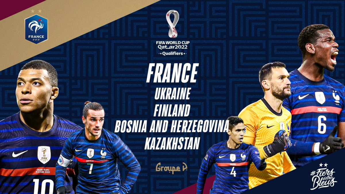 Here are the 4 teams we'll face in @FIFAWorldCup qualifying!   Ukraine 🇺🇦 Finland 🇫🇮 Bosnia and Herzegovina 🇧🇦 Kazakhstan 🇰🇿  Our title defence kicks off in March 2021 🏆 #FiersdetreBleus
