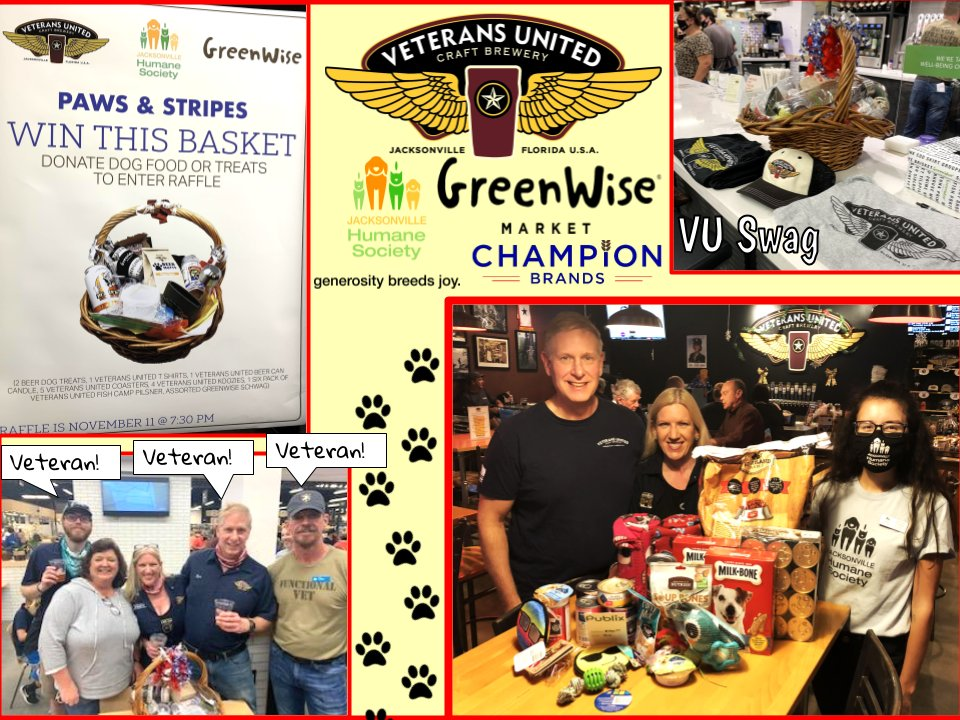On Veterans Day VU, Champion Brands & Publix Greenwise at Nocatee held an event to gather pet food donations & funds for the Jax Humane Society's Paws & Stripes program for Veterans!  @greenwisemarket @jaxhumane @championbrands #beer #beeroclock #VeteransDay2020 #Veterans