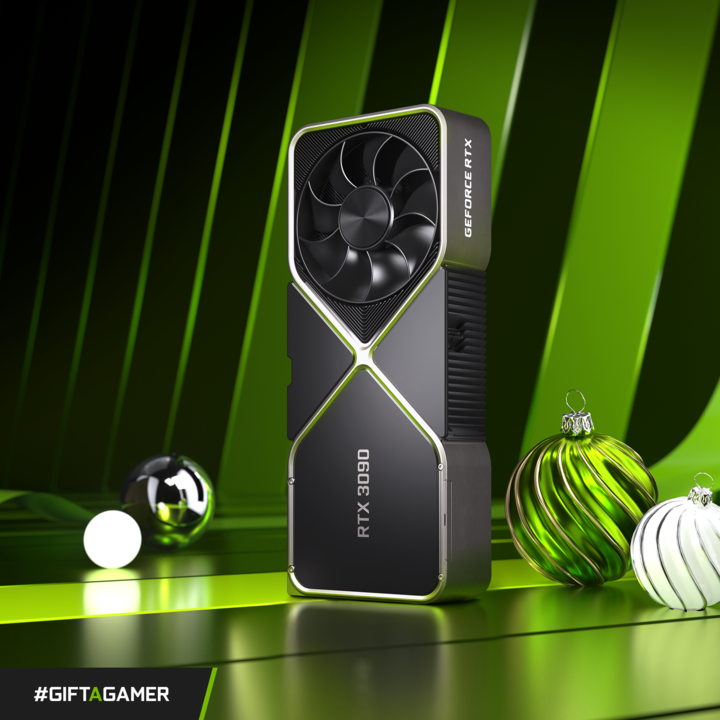 Our #GiftAGamer Holiday Contest Ultimate Prize! 🌟💚🎁  Win a GeForce RTX 3090 for you and a friend!  1. RT this photo. 2. Tell us about the person you always go to for PC building or hardware advice (and tag them!) in the replies with #GiftAGamer 3. If selected, you BOTH win!