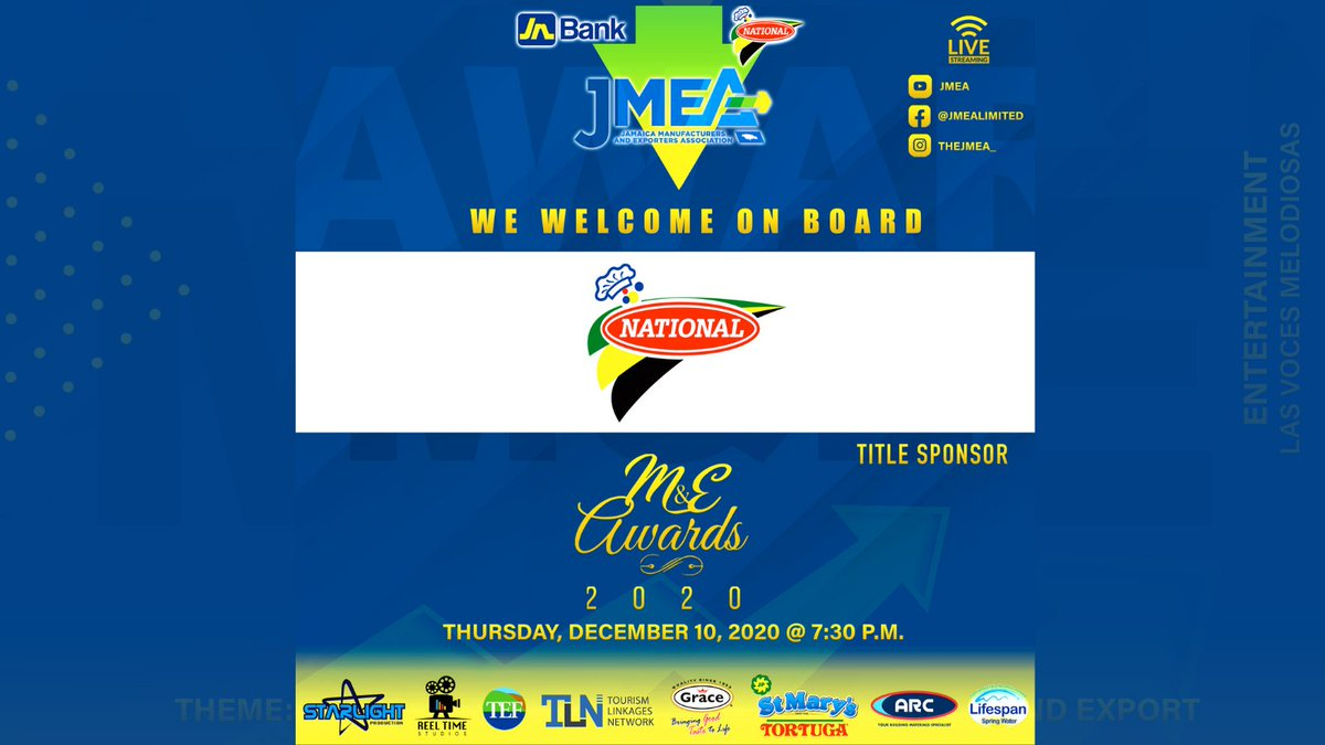 We are thrilled to welcome on-board National Baking Company Limited as a title sponsor of the 2020 JMEA M&E Awards  Thank you!! @nationalbakery   Catch the Awards via live stream on Thursday, Dec 10 @ 7:30 p.m. on the JMEA's IG, FB and YouTube pages.   #JMEAAWards2020 https://t.co/D9H9Z3Zxnr