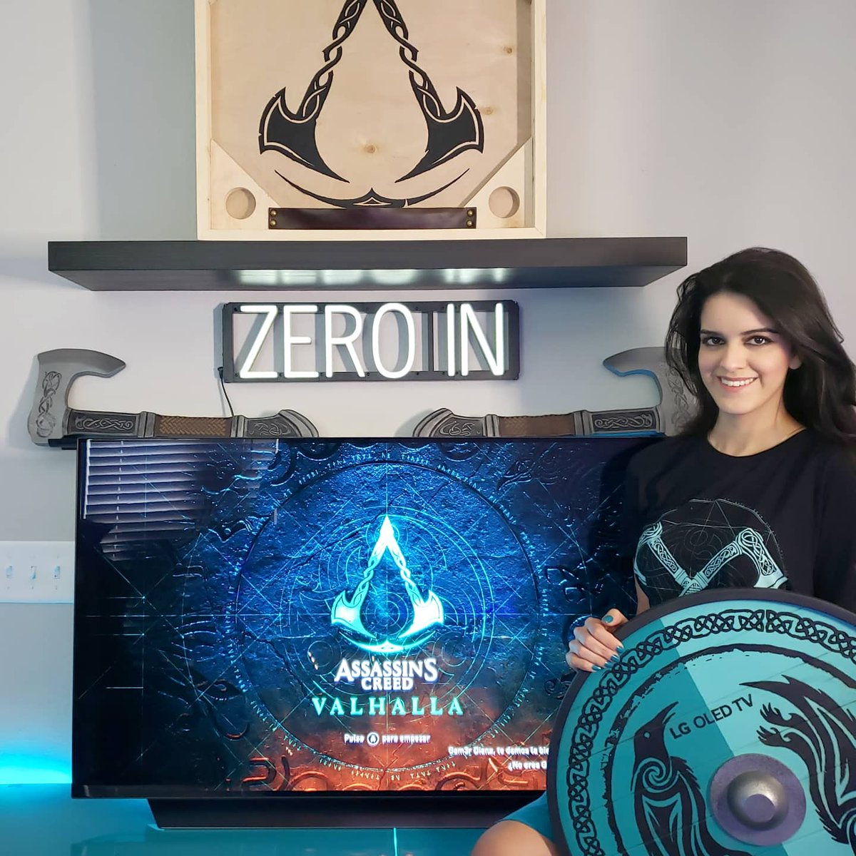 """Love my 48"""" @lgus OLED TV  the feeling when playing @AssassinsCreed Valhalla is unique, because the immersive quality of the images that make you feel like a real Viking. Check out the #LgZeroIn series:  #LGOLEDTV #lgpartner #assassinscreed"""
