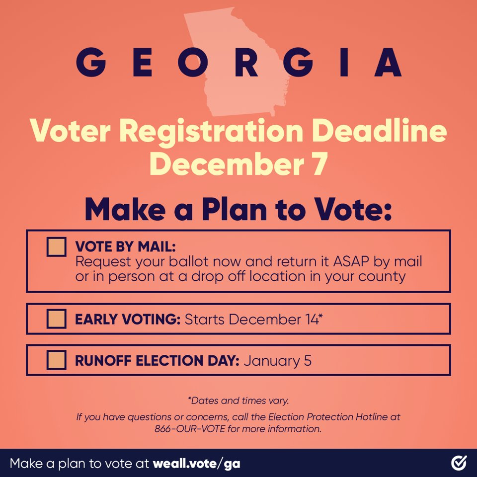 GEORGIA TODAY IS YOUR LAST DAY TO REGISTER TO VOTE IN THE RUNOFF!! #RegisteredAndReady @WhenWeAllVote