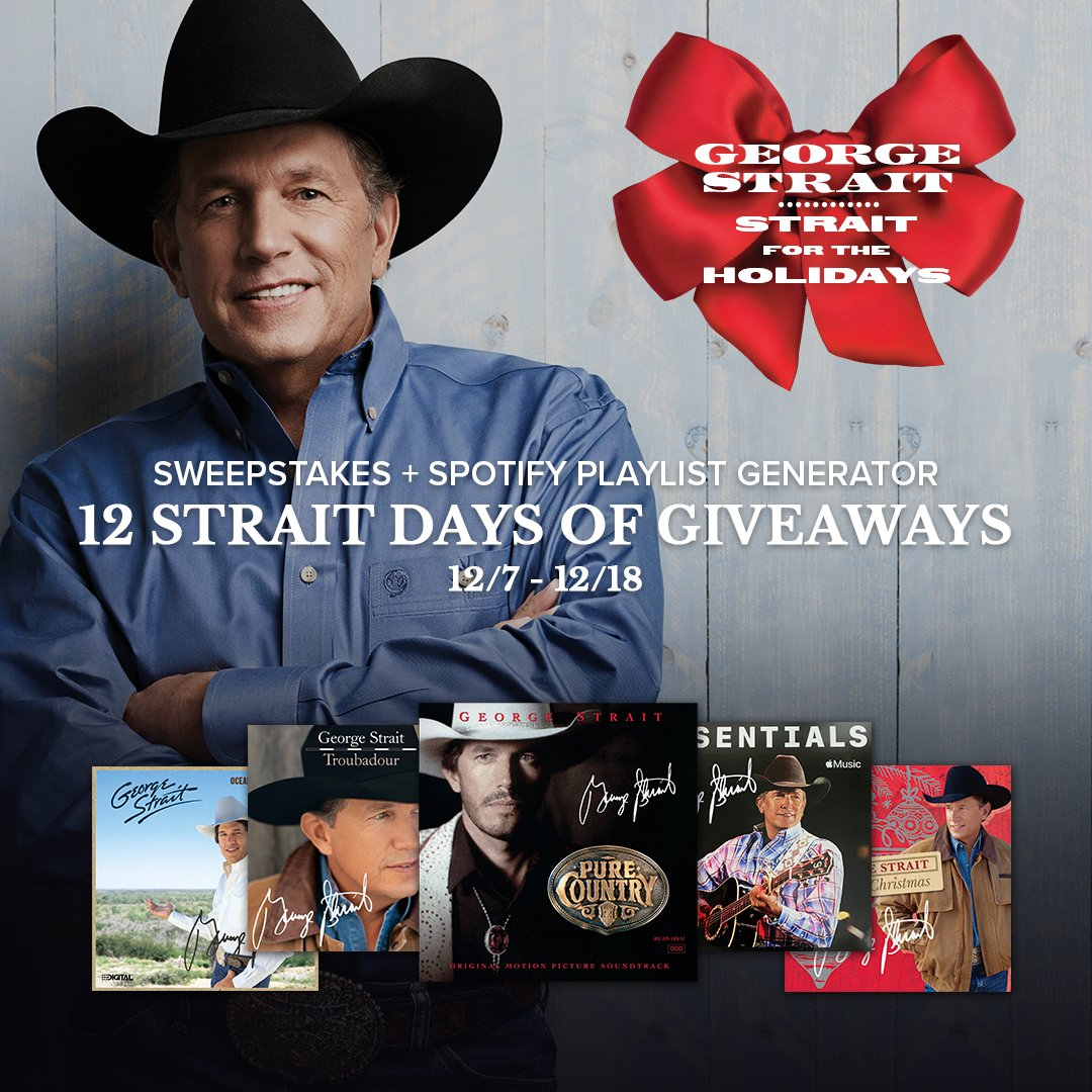 George is bringing the holidays to you this year with 12 Strait Days of Giveaways, starting today! Create your own holiday playlist & enter daily until Dec. 18th at . 🎄