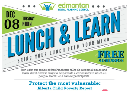 Join the Edmonton Social Planning Council Lunch and Learn discussion tomorrow, December 8, about the latest Alberta Child Poverty Report, which provides a progress report on the state of child poverty. More info: bit.ly/36r7LbG Register: bit.ly/2JxBQxh twitter.com/edmontonspc/st…