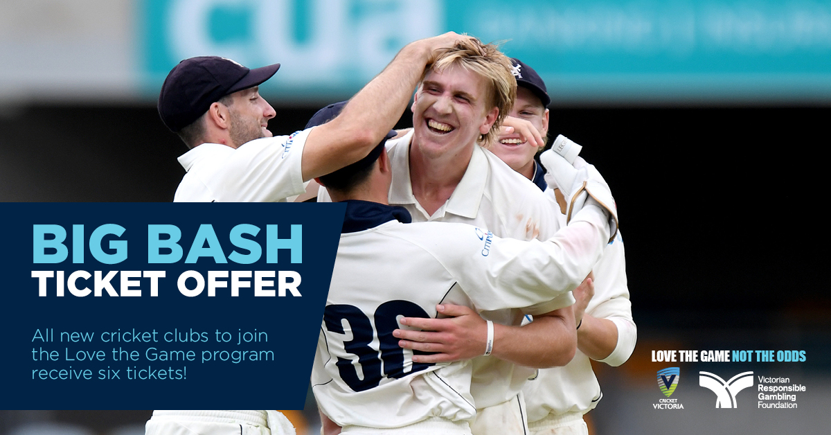 Big Bash ticket offer!  All new cricket clubs who join the @vicrgf Love The Game Program gain access to six tickets for their local club.  Offer ends January 4. Register your club here: https://t.co/5OPynHua0Z #LoveTheGameNotTheOdds https://t.co/yfch5GfEsj