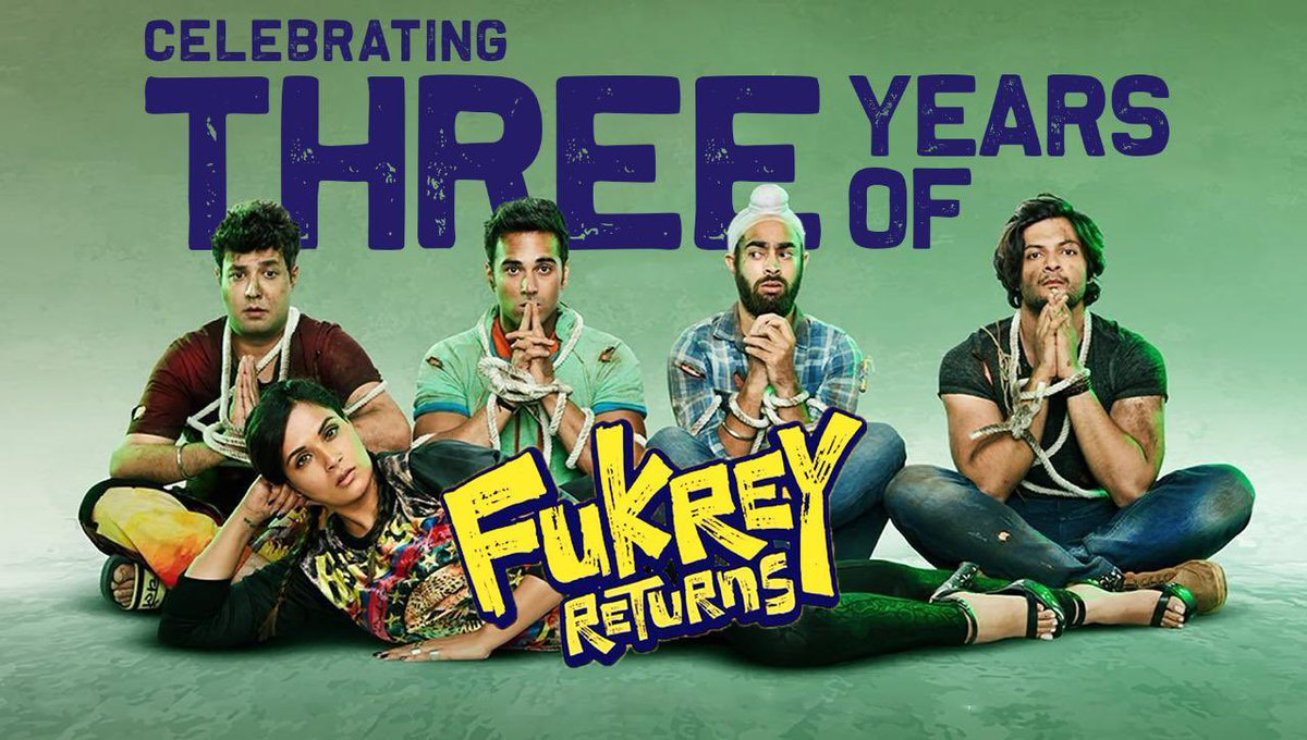 Celebrating 3 Years with this Fukron Ki Toli! Can't wait for the mad journey of #Fukrey3 to begin. #3YearsOfFukreyReturns