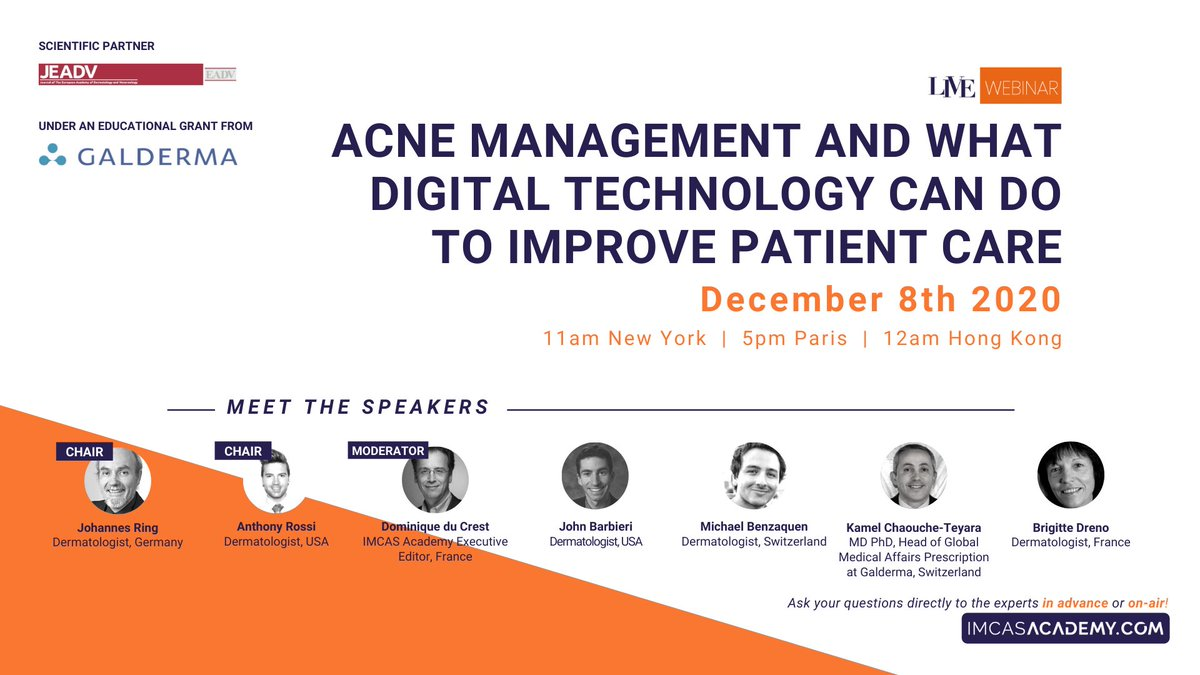 "- LIVE WEBINAR TODAY - December 8 at 5PM (Paris time)  Join us in a few hours for the LIVE webinar on ""Acne management and what digital technology can do to improve patient care"". Register & watch for free 👉 https://t.co/1T8xFEaVRs https://t.co/tzRNXp1rkB"