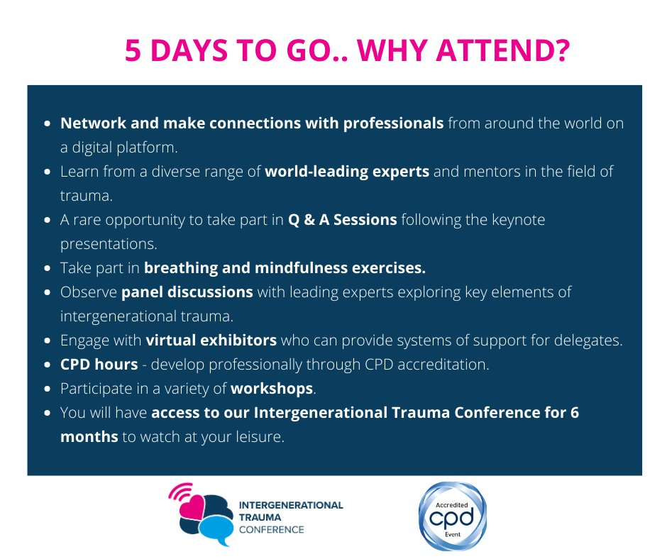 #5DAYSTOGO .. We are so excited to welcome all of our virtual visitors on 19th January.  Have you got your ticket yet?  Book tickets:    #MentalHealthAwareness #traumainformed #virtualconference #stephenporges