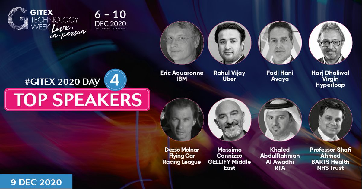 We're warming up for Day 4 of #GITEX2020 already! 👊   Meet some of the industry gurus joining us on-stage tomorrow for talks & panels around technology & the pandemic, Virgin Hyperloop, the world's first flying car racing league, racing yachts taking 4G to the moon and  more 👇