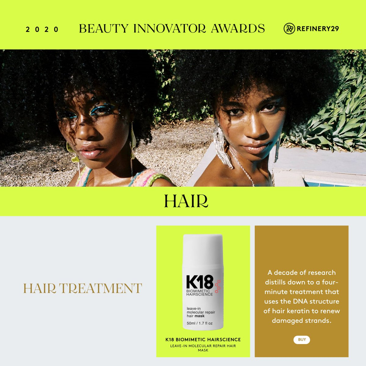 Innovation is at the core of who we are- it's an honor to be awarded the @refinery29  BEST HAIR TREATMENT BEAUTY INNOVATOR AWARD for our Leave-In Molecular Hair Repair Mask.