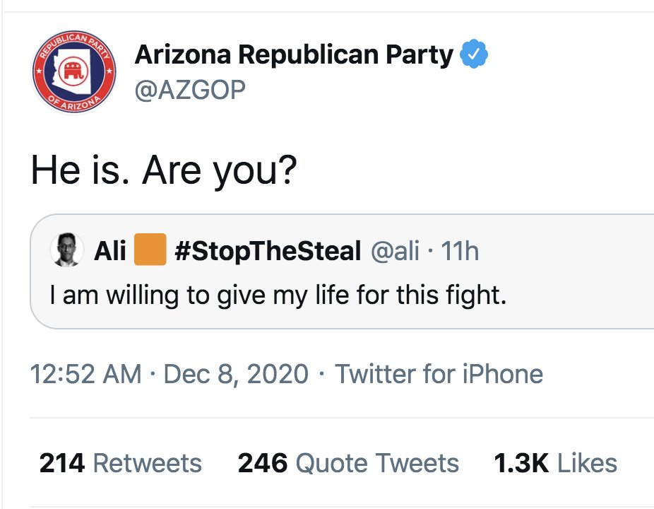 Official Arizona GOP Twitter account overnight: