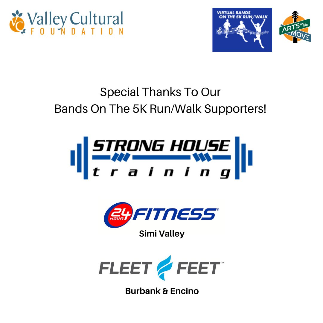 Special thanks to our Bands On The #5K Run/Walk Supporters, #StrongHouseTraining, #24HourFitnessSimi, #FleetFeetEncino, & #FleetFeetBurbank!🏋️🏃‍♀️🥇  #RunForACause #runner #health #AtHomeWorkout #workout #walk #5KRun #gym #GymLife #music #arts  #NonProfit #concerts #Virtual5K #VCF
