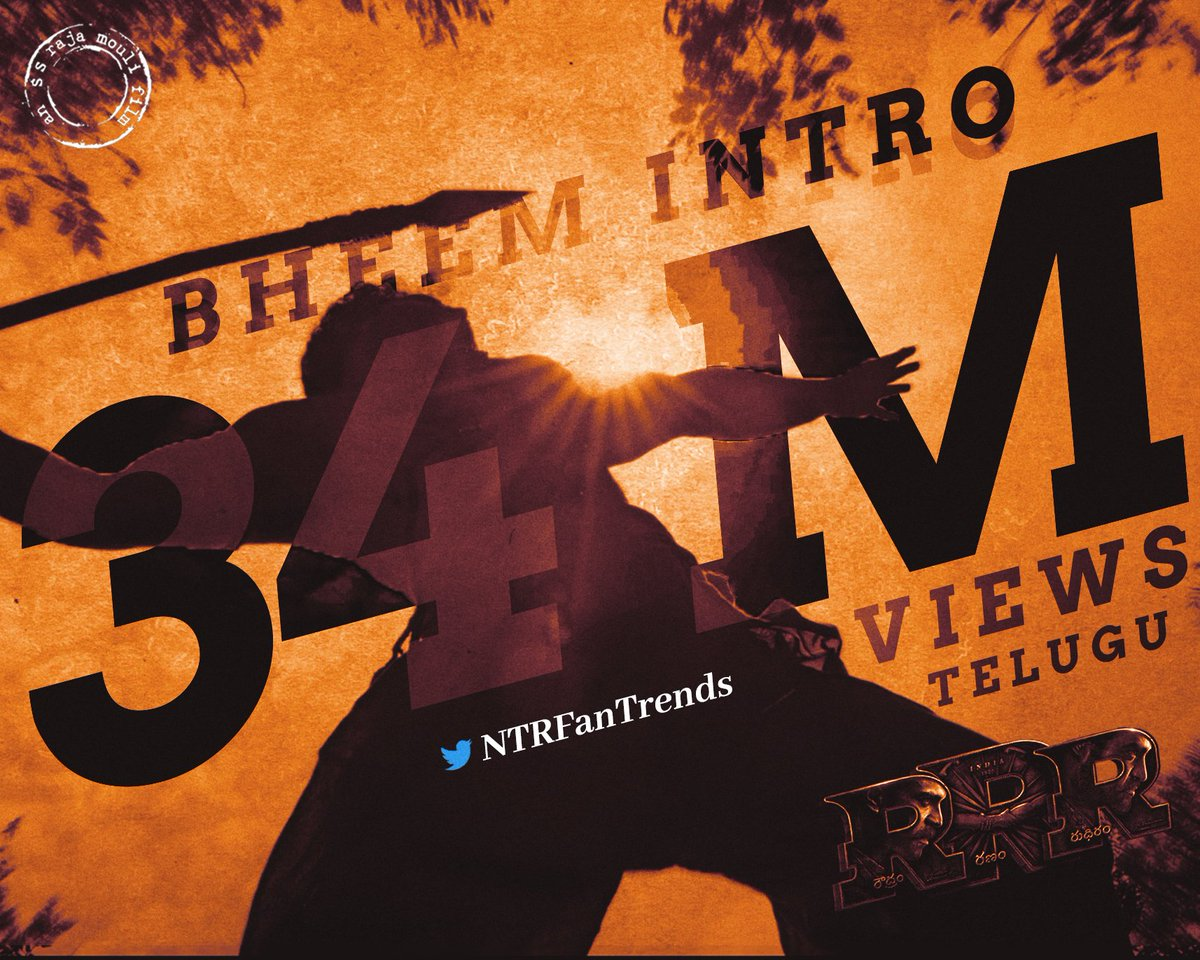 34M views for BHEEM's intro  @tarak9999  #KomaramBheemNTR  #1YearForNTRCharities  #bheemfirstlook