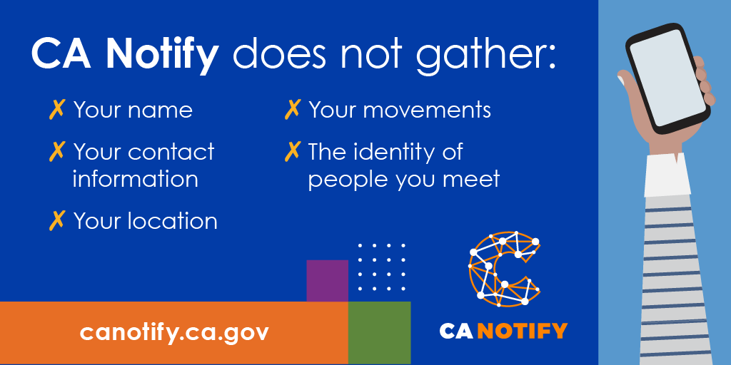 Stop the spread. Sign up for #COVID19 exposure notifications on your phone. Your identity is protected. Learn when you have come in contact with someone who tested positive for the virus.  #CANotify