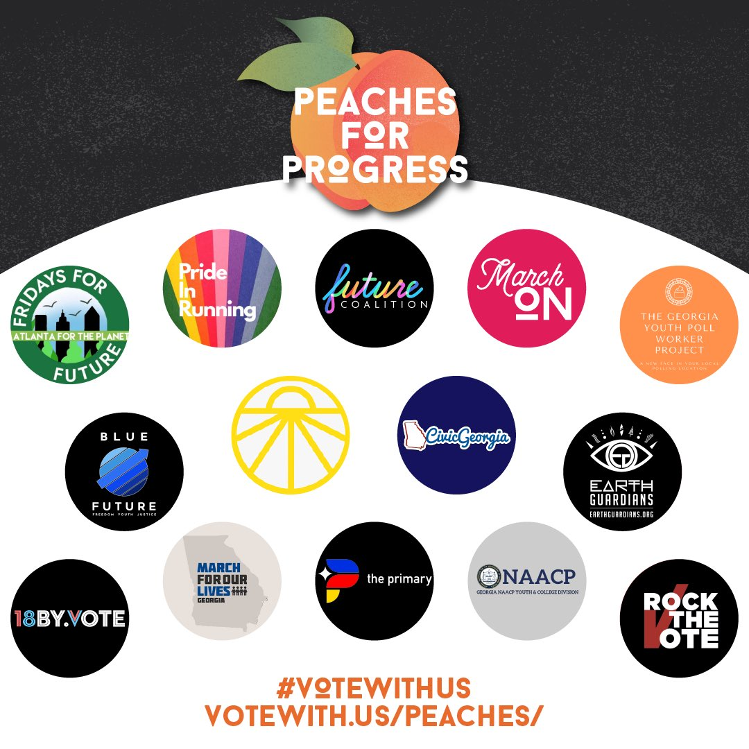 🍑 We are so excited to introduce Peaches for Progress, a new youth-led coalition to get out the youth vote for the senate runoffs in Georgia and flip the senate blue!  📣 Visit  for updates about events and initiatives throughout the month! #VoteWithUs