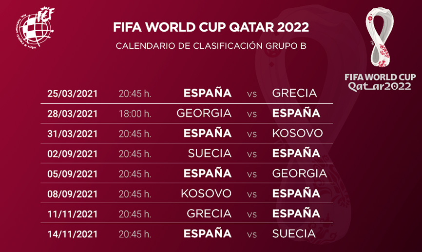 🚨 OFICIAL | ¡Así será nuestra Fase de Clasificación para el Mundial de #Catar2022!  🗓️ España debutará recibiendo a Grecia el 25 de marzo...  🗓️ ... y cerrará la Fase de Grupos como local el 14 de noviembre ante Suecia.  🔗   #SomosEspaña #SomosFederación