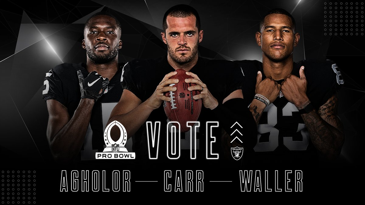 #RaiderNation still has the power to paint the Pro Bowl Silver and Black 🗳️  #ProBowlVote »   Nelson Agholor x @derekcarrqb x Darren Waller