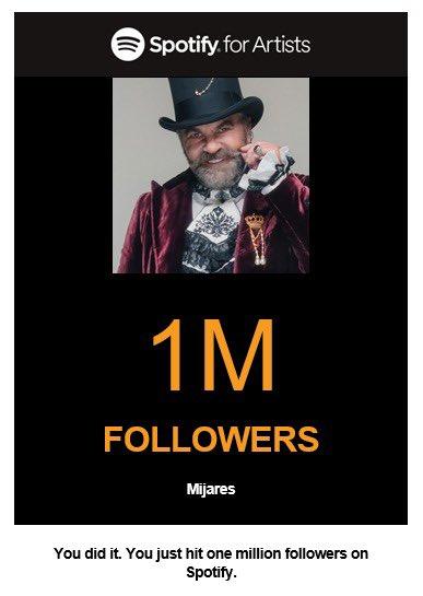 Ya somo 1M en @SpotifyMexico , siwmpre agradecido por su apoyo, vamos por mas! ¡Un millin de gracias!