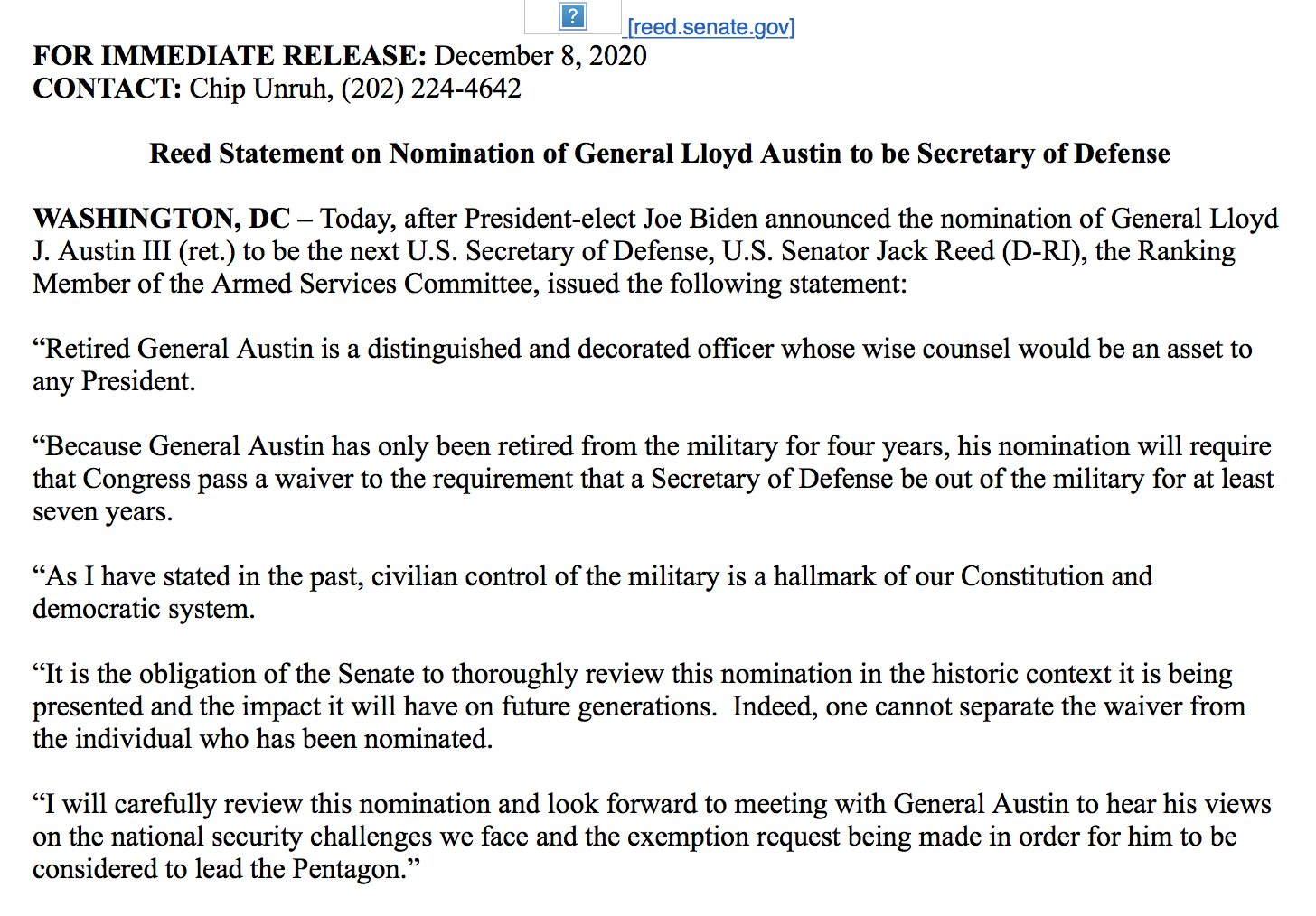 John Hudson On Twitter Jack Reed Keeping An Open Mind On A Waiver For Gen Austin One Cannot Separate The Waiver From The Individual Who Has Been Nominated I Will Carefully Review