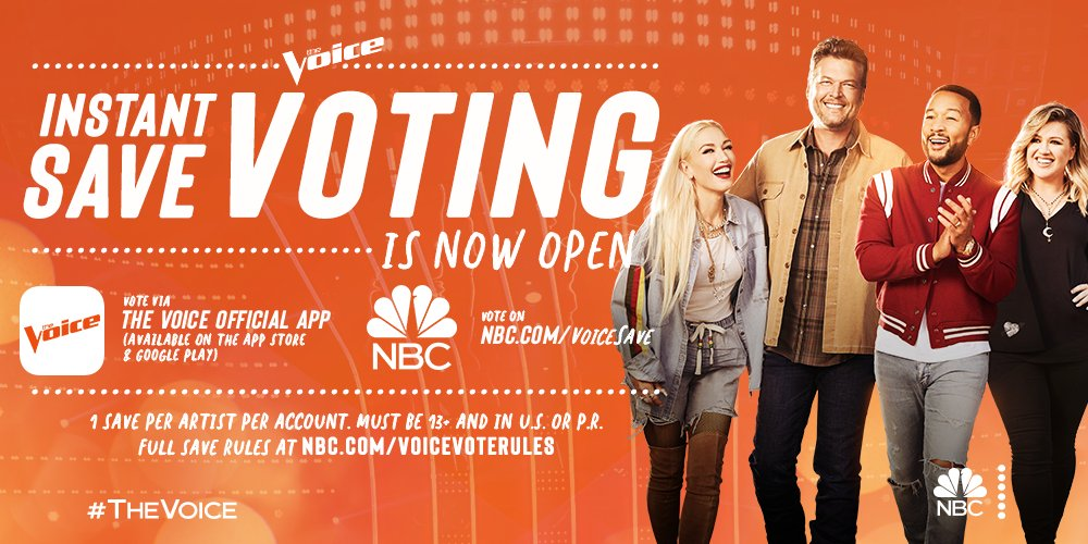 Need your vote America 🎸🎤🇺🇸 NOW for an #InstantSave -->  #TeamGwen @NBCTheVoice