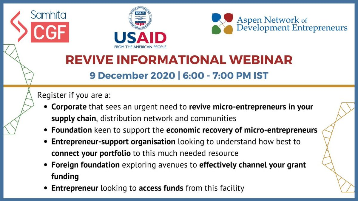 🔴Happening today at 6 PM IST!🔴 Register for the @ANDEIndia, @usaid_india & @Samhitadotorg webinar on #REVIVEIndia, a $6.85 million #blendedfinance facility targeted at providing finance to at-risk nano and #microenterprises. Register:  #EconomicRecovery