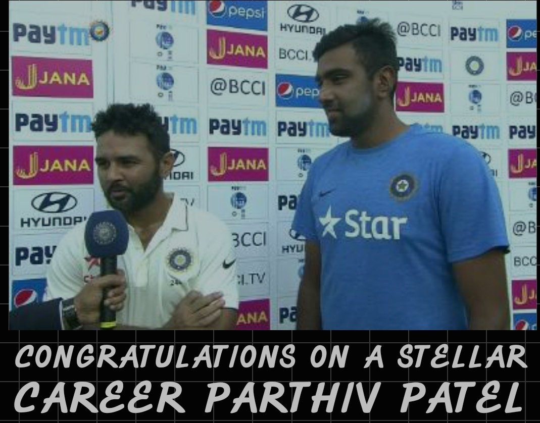 @ashwinravi99 Congratulations PARTHIV PATEL on a Stellar career 🙏 Best wishes for your future endeavors from our #SpinningStalwart @ashwinravi99 anna and fans 💐