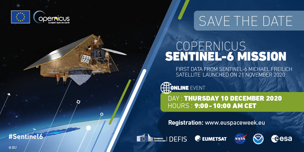 🗞️PRESS CONFERENCE🗞️  The first data and images produced by #Sentinel6 'Michael Freilich' will be presented to the media tomorrow morning.  It's the first time that we will be #seeingtheseas through this new set of Europe's eyes on earth.   Register here👉