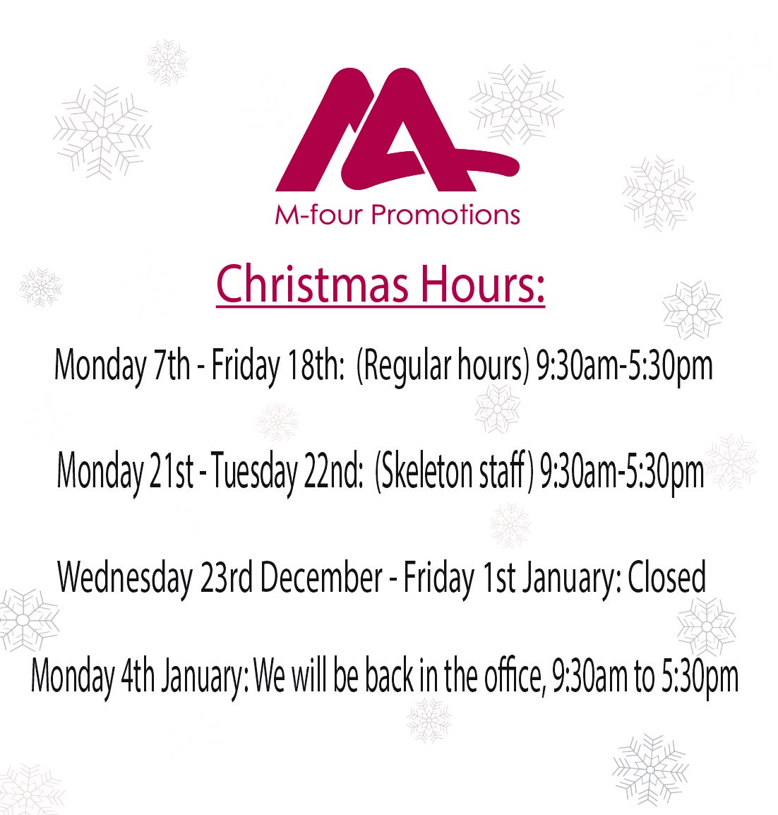 Office Closed Monday And Tuesday For Christmas 2021 M Four Promotions On Twitter Only 17 Sleeps Until Christmas Are You In The Festive Spirit Yet We Certainly Are We Will Be Closing The Office On Friday 18th December And We