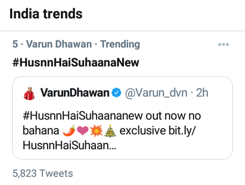 Congratulations 🎊🎉 @Varun_dvn #HusnnHaiSuhaanaNew Trending No. 5 India top trend 🎉🔥 Today out know song #VarunDhawan #SaraAliKhan #excitedforcoolieno1 #CoolieNo1OnPrime #CoolieNo1 #DividDhawan sir 🎊💯🎉❤️🔥
