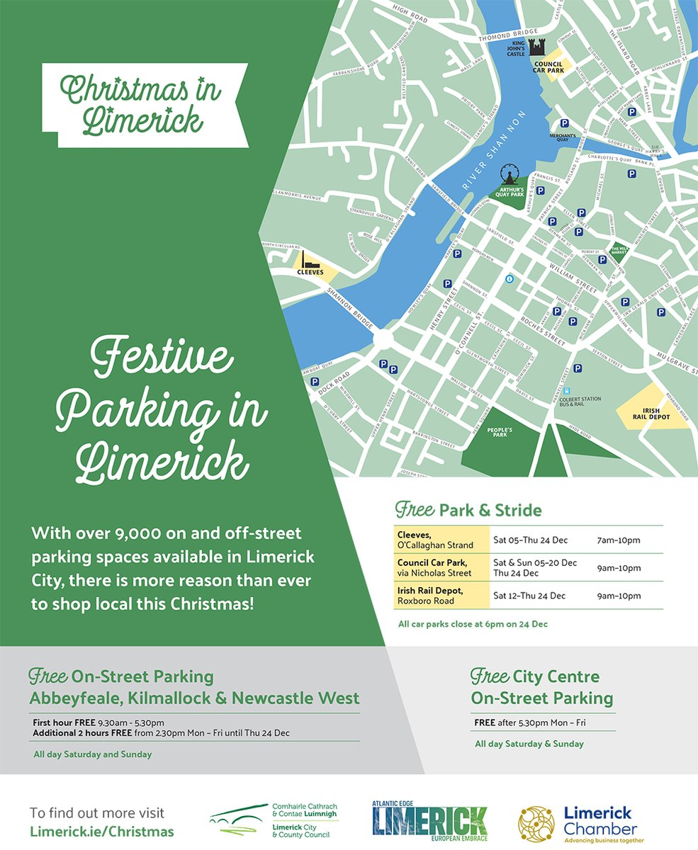 Limerick Council On Twitter There S A Range Of Parking Offers In Place This Christmas Across Limerick Including Park Strides Free Parking At The Cleeves Site In Limerick City And Free On Street