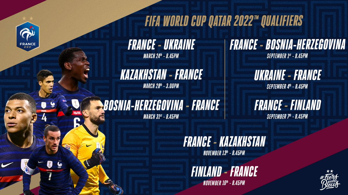 Check out the full dates for next year's World Cup qualifying campaign, which kicks off at home to Ukraine on 24 March and ends in Finland on 16 November. 📆💪 #FiersdetreBleus