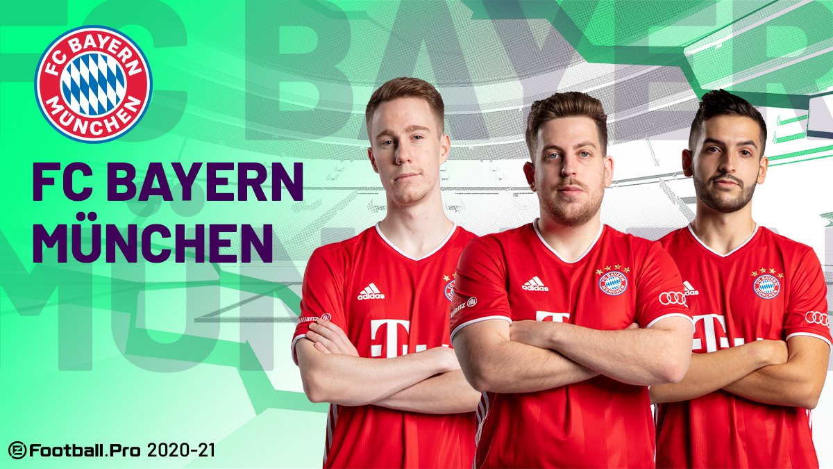 @ManUtd @GSEsports @FCBeSports 🔴🔵@fcbayernesports returns with  Cup Champions Alex Alguacil, JOSE, and MESTRE representing the German Club for another season  #PES2021 #eFootballPro #fcbayernesports