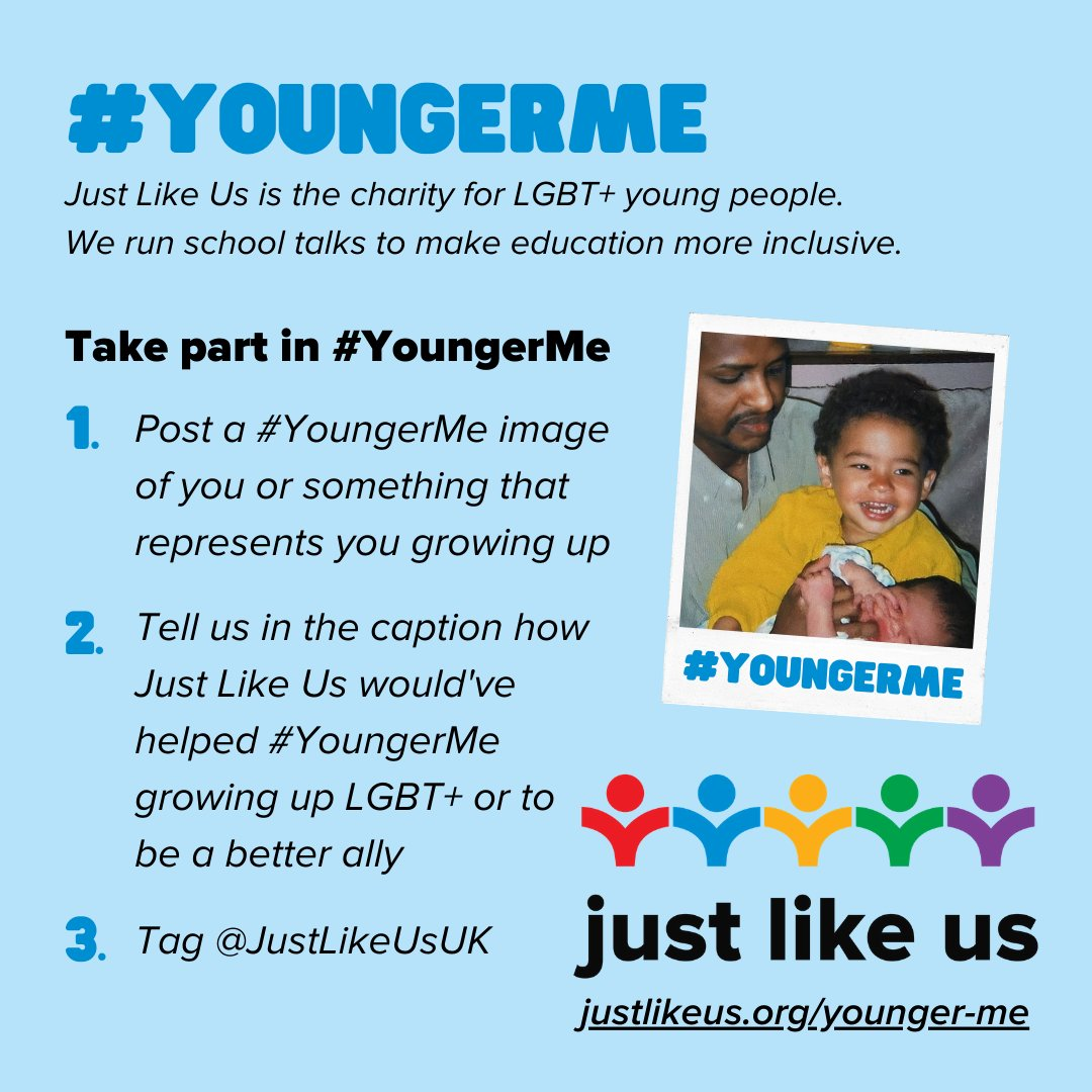 This is an incredibly tough time for LGBT+ young people.  Please join us in supporting our #YoungerMe campaign this December, raising awareness of the need for @JustLikeUsUK's inclusive education programmes in schools.  Read more and donate: