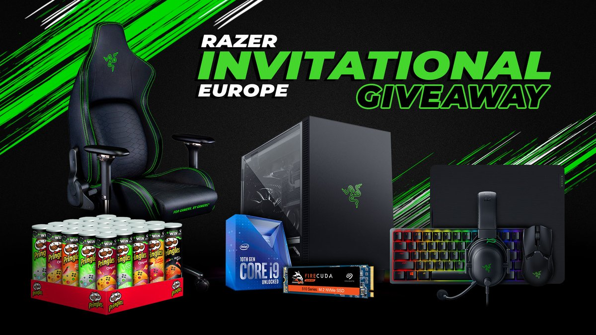 Score big at the Razer EU Invitational. We've teamed up with our partners at @PringlesGaming, @IntelGaming, and @SeagateGaming to give away five amazing prize packages. Prizes include a Razer Iskur, an Intel i9 CPU, and a Seagate FireCuda SSD. Enter here: