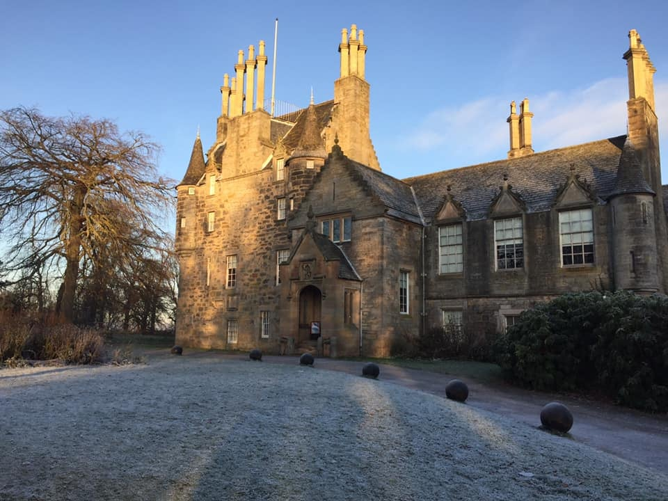 "John Geddes, ""A Familiar Rain"" December's wintery breath is already clouding the pond, frosting the pane, obscuring summer's memory ... #LauristonCastle enchanting as always.....#ArchiveAdventCalendar #EdinburghActiveAdvent  #Edinburgh #snow #WINTER #VisitScotland"