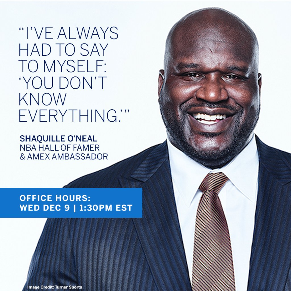 Not all ventures have been slam dunks for @SHAQ. Hear how the NBA Hall of Famer & #AmexAmbassador's losses have led to wins. He talks w/ Clayton Ruebensaal, EVP of Global B2B Marketing at #AmexBusiness - today (Wed, Dec 9th) at 1:30PM EST on