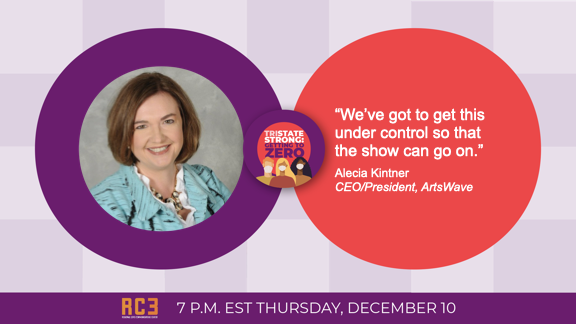 ArtsWave's @AleciaKintner will join local leaders tomorrow, Dec. 10 at 7 p.m. for Tristate Strong: Getting to Zero, asking your help to get COVID-19 numbers down to 0. Tune in on @WCPO, @Local12, @cetconnect, @917wvxu, @wiznationcincy, @RNBCincy @1230amWDBZ  or @Enquirer. https://t.co/FJnbvuYhwn