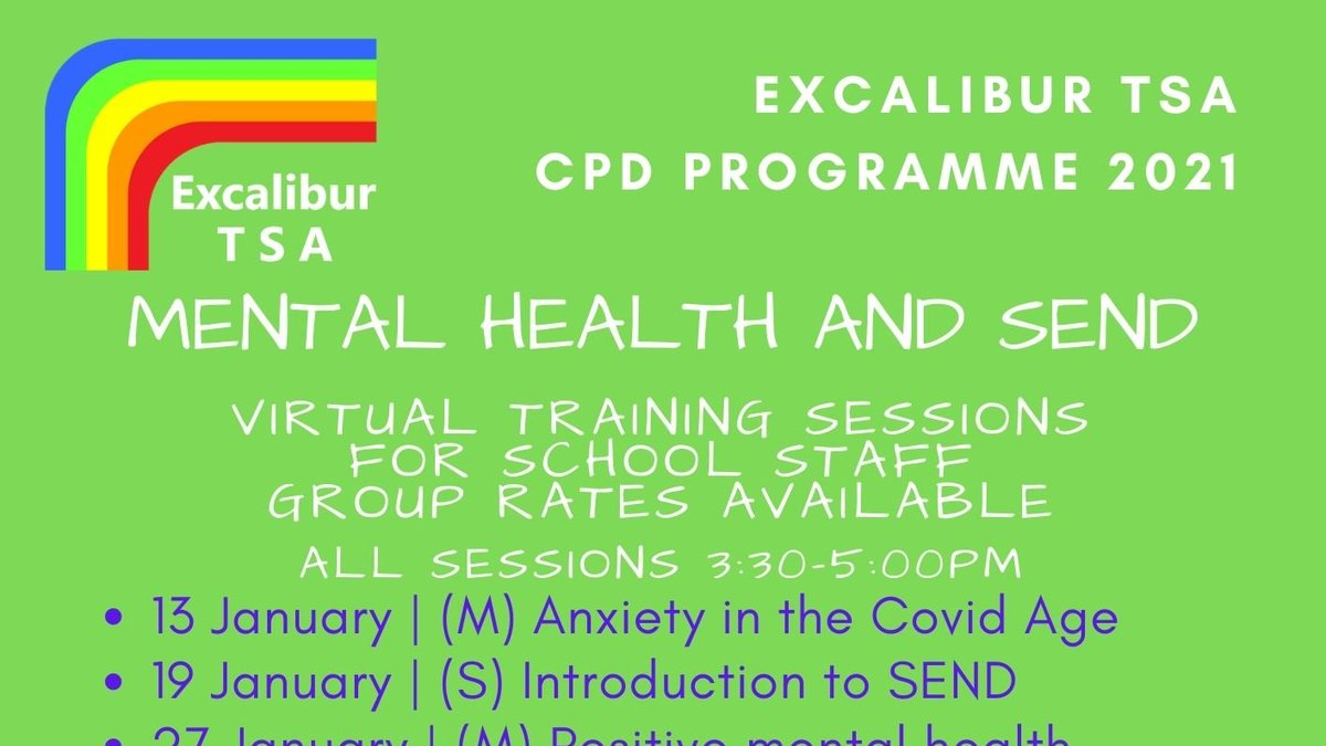 We've now released our first batch of 20/21 Remote CPD sessions for school staff, focusing on SEND and student mental health. For full details and booking information: https://t.co/AXBYZK8REa Sessions are 3:30-5pm and all will be delivered online. Group rates for whole school CPD