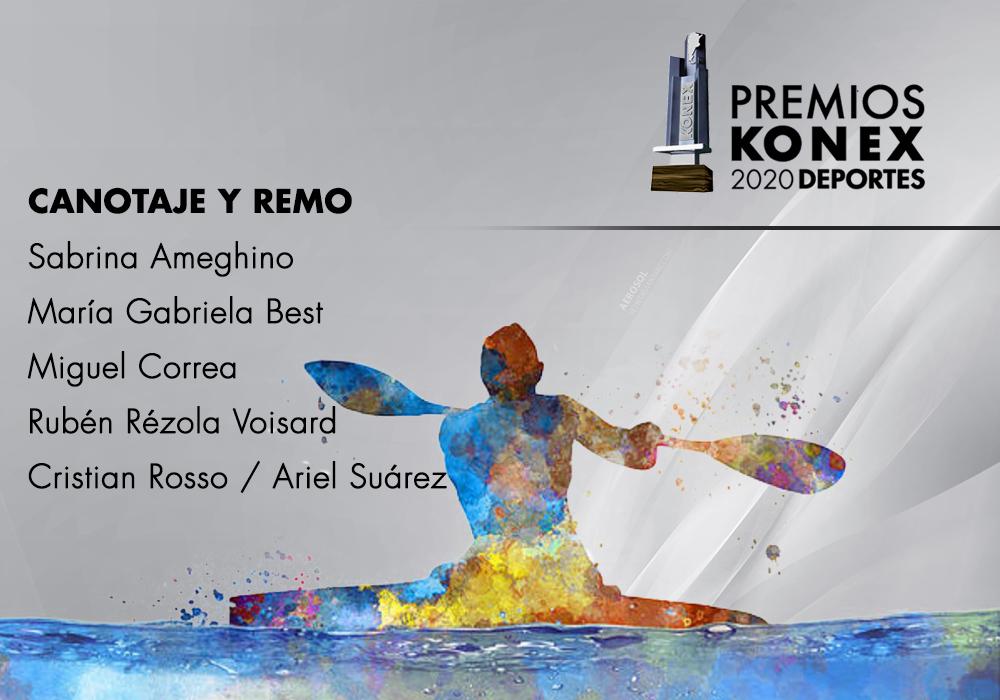 En la disciplina Canotaje y Remo, los ganadores del #PremioKonex 2020 son:  🔹@SabriAmeghino 🔹@MGabi_Best 🔹Miguel Correa 🔹@RubenRezolaVois 🔹Cristian Rosso / @suarezrow  Acá el listado completo de premiados👇  #canotaje #remo #konex
